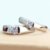 Hot Sale Promotion 925 Sterling Silver Jewelry Couple Rings Pair Engagement Ring Men Top Quality Zircon