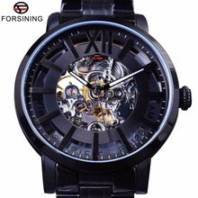 Forsining 2017 Transparente 316 de Acero Inoxidable Cristal de Zafiro Resistente Al Agua Relojes de Los Hombres de Primeras Marcas de Lujo Reloj Automático Esquelético