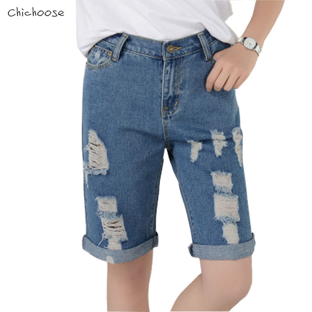 f1ca2a7eac Boyfriend Style Straight Denim Shorts Knee-Length Hole Ripped Jeans For Women  Low Waist Blue Vintage Casual Loose Denim Shorts