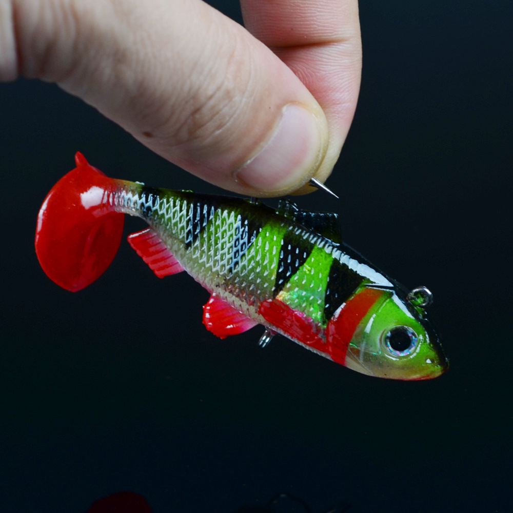 Soft Lead Bait Fishing Lures 15g 6 Hooks 3D Eyes Lifelike Wobblers Isca Artificial Bait Attract Fish Sea fishing Rubber Shad in Fishing Lures from Sports Entertainment