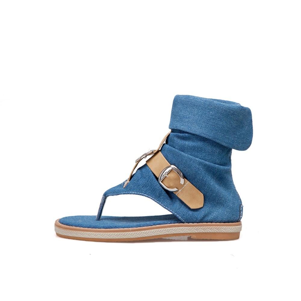HTB1O nGLwHqK1RjSZFEq6AGMXXaV CDPUNDARI Ladies Denim Flat sandals for women Platform Sandals summer shoes woman Gladiator Sandals sandalias mujer 2019
