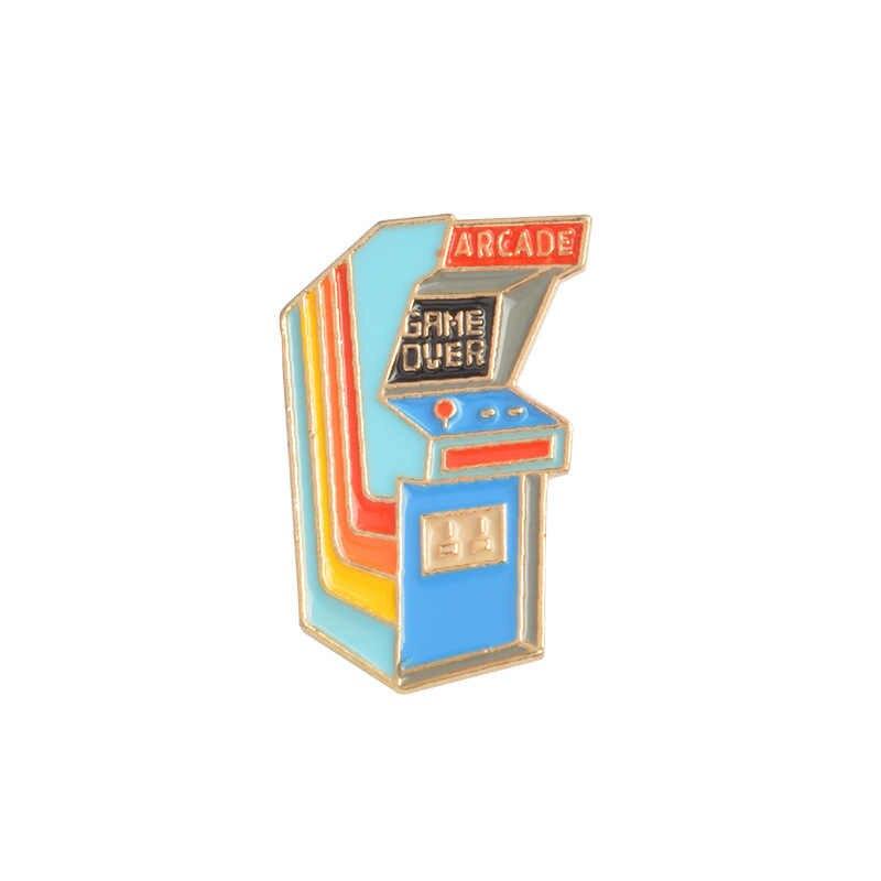 Kartun Lucu Permainan Meja Mesin Paduan Bros Mini Pins Lencana Enamel Kerah Pin Gaun Lucu Topi Syal Dekorasi Aksesori
