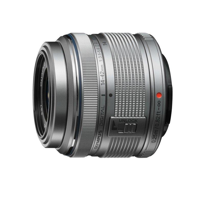 Zilver M. ZUIKO DIGITAL 14 42mm f/3.5 5.6II R lens Voor Olympus EP2.EP3. EPL3.EPL5. EPM2.G2; G3; GF2; GF3; GF5; GH1; GH2; GX1 Voor Panasonic-in Camcorder Lenzen van Consumentenelektronica op  Groep 1