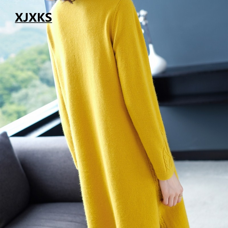 Xjxks Split Femme V Confortable Robe Hem Long Beige Pull Col Femmes De Cachemire jaune 2019 noir Chaud Laine rouge Hiver Tricoté pourpre DHI2E9