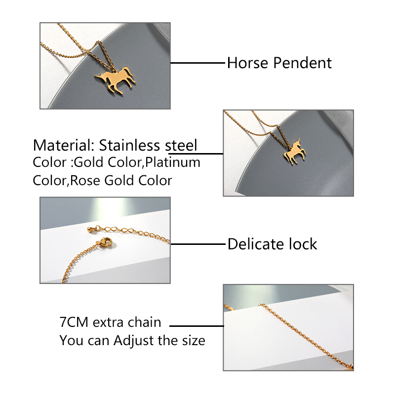 Personalized Horse Necklace Stainless Steel Gold Chain Necklaces Pendents For Women 39 s Bijoux Jewelry Accessories Drop Shipping in Pendant Necklaces from Jewelry amp Accessories