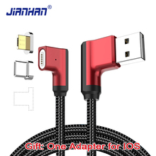 2 in 1 Magnetic 90 degree 1M Micro USB Cable Fast Charging Data 5V2A Braided Type C L Shape Charger for Xiaomi Samsung