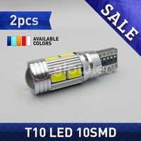 Lámpara de autobús automotriz T10 10SMD CANBUS 5630 SMD 194 W5W, bombilla LED sin Error, blanco, rojo, azul, amarillo, GLOWTEC, 2 uds.
