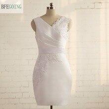 Boing White Satin V Neck Knee Length Bridesmaid Dress
