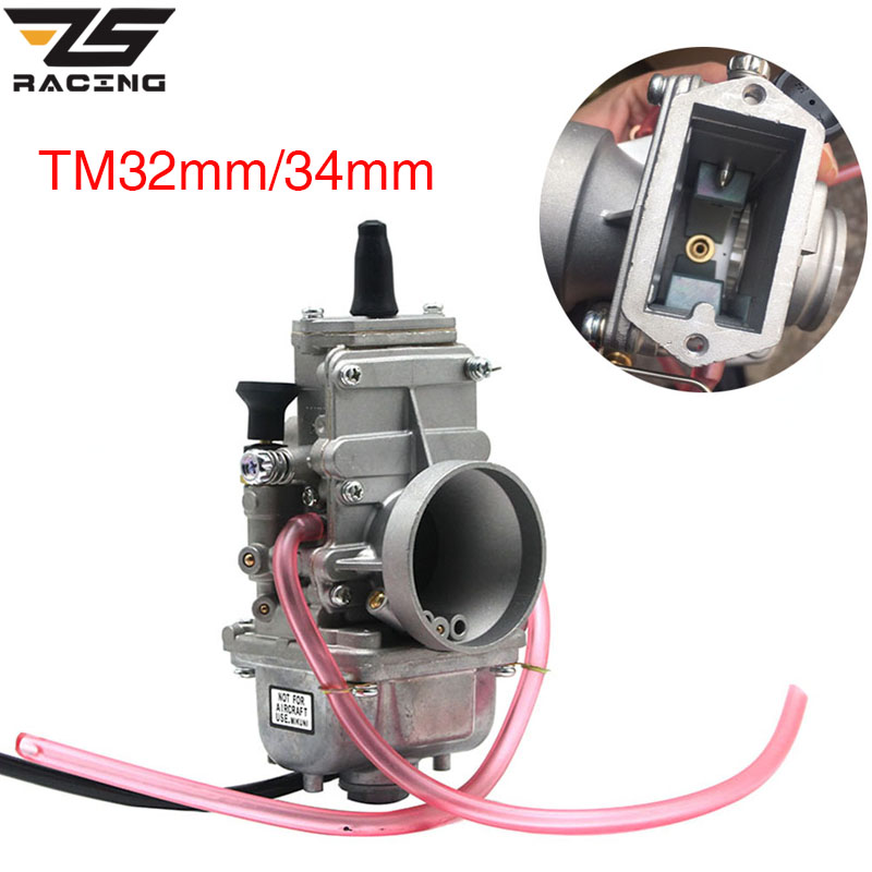 ZS Racing Motorcycle MIKUNI 32mm 34mm TM32 TM34 Flat Slide Smoothbore Carb For 200cc 250cc 4