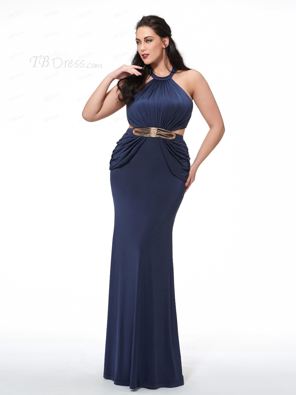 Hufanydrss Navy Blue Plus Size Prom Dresses 2017 Halter Hollow Back ...