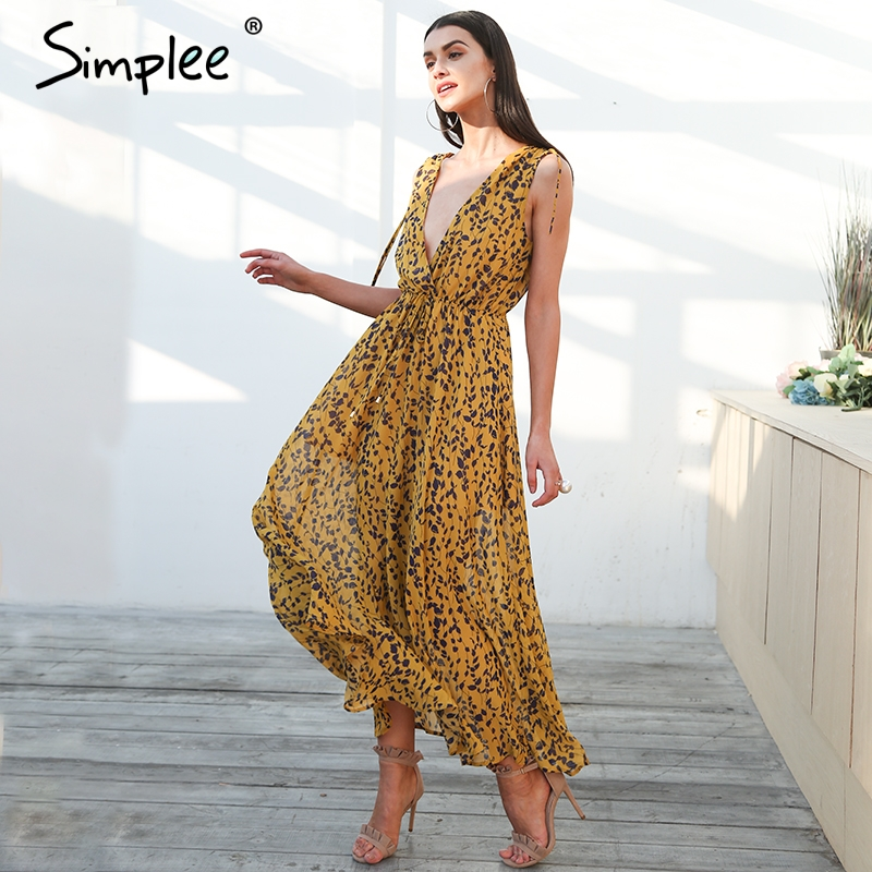 Simplee Boho print beach maxi dress Women sexy v neck chiffon high waist long dress 2018 Summer tie up female vestidos