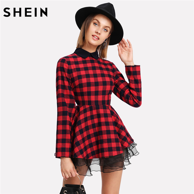 SHEIN Long Sleeve Dress Contrast Mesh Tiered Layer Contrast Collar Multicolor Ruffle Organza Trim Checked Fit