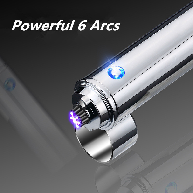 Image 3 - New Cigar USB Lighter Electric 6 Pulse Arc Tobacco Pipe Lighter Cigarette Powerful Six Plasma Thunder Metal Cigarette Accessory-in Cigarette Accessories from Home & Garden
