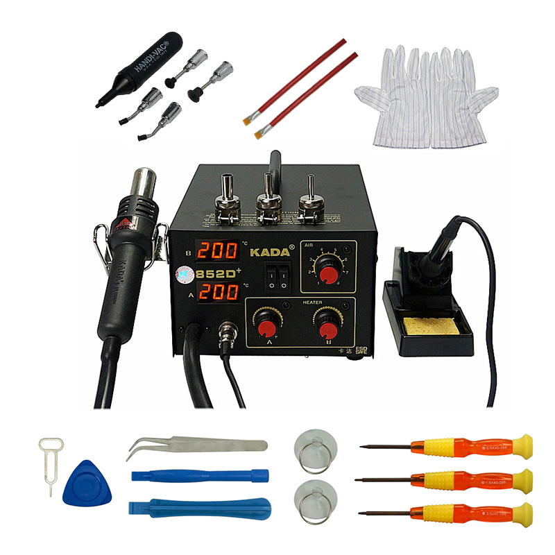 KADA 852D+ Hot Air Heat Gun Digital Soldering Iron 2in1 SMD Hot Air Rework Solder Station SMD Repairing System With Free Gifts