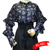 Spwing Plus Size Foral Print Tops Ruffles Butterfly Sleeve Chiffon Blouse 4Xl 5Xl Shirt Femme Streetwear