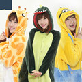 New 2017 winter Unisex Adults Flannel Hoodie Pajamas Costume Cosplay Animal Onesies Sleepwear Men Women Unicorn Pikachu Giraffe