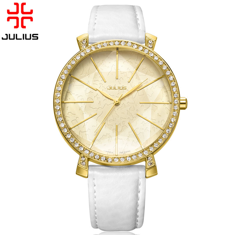 Julius Lady Women's Watch Japan Quartz Hours Fine Fashion Dress Bracelet Big Star Flash Leather Rhinestone Girl Gift цена