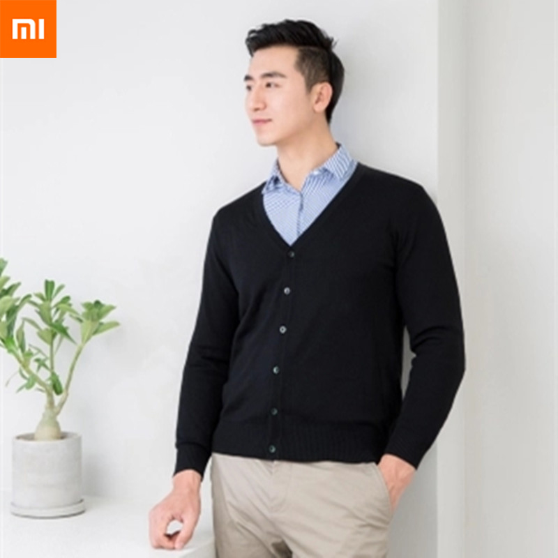 New Xiaomi Ziyi Men Cardigan Anti-pilling Sweater Cardigan Winter Spring Fashion Tops bag V-Neck Classic Long Sleeve Wool v neck lose fitting knitting pocket long sleeve men s sweater