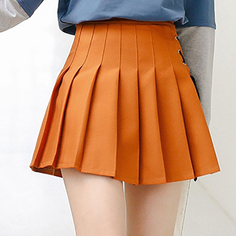 Harajuku Sweet Style High Waist Mini A -line Skirt Schoolgirl Summer Japanese Casual Brown Pleated Skirt Women Streetwear M222 a-line