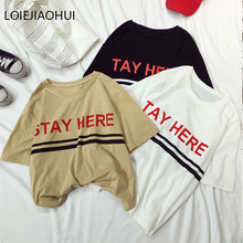 LOIEJOHHI Short Sleeve T-Shirt Female 2018 New Arrivals summer Basic   Women's T-shirt  print Harajuku Loose Women's tops KM706