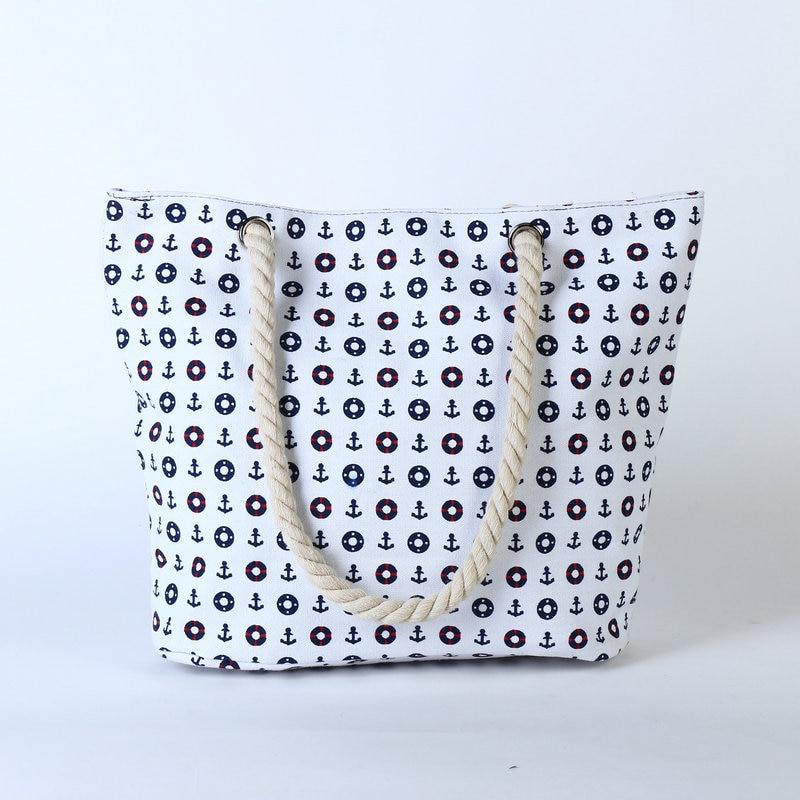 Rdywbu 2017 Summer Anchor Printed Canvas Handbag Women's Casual Big Rope Tote Travel Bag Luxury Designers Holiday Beach Bag B133 1