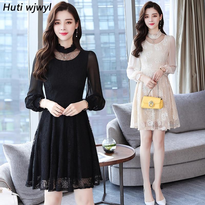 2018 Vintage Elegant Lace Dress Women Summer Autumn Lantern Sleeve Hollow Out Long Dress Plus Size Mesh Party Dresses Vestidos Dresses