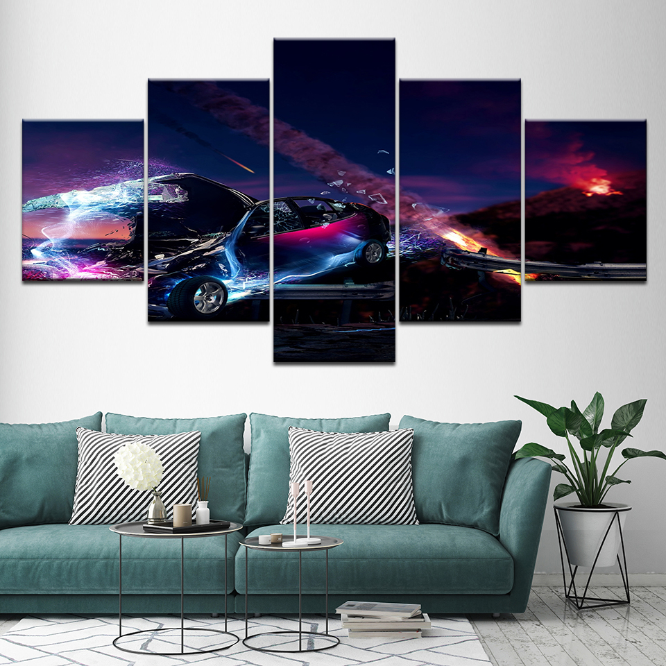 Canvas Painting Abstract lightning sports car 5 Pieces Wall Art Painting Modular Wallpapers Poster Print for living room Decor