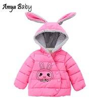 Amyababy الشتاء معطف الرضع فتاة سترة مقنعين الكرتون أرنب ملابس للمواليد الفتيات لطيف سميكة الدافئة زائد المخملية snowsuit