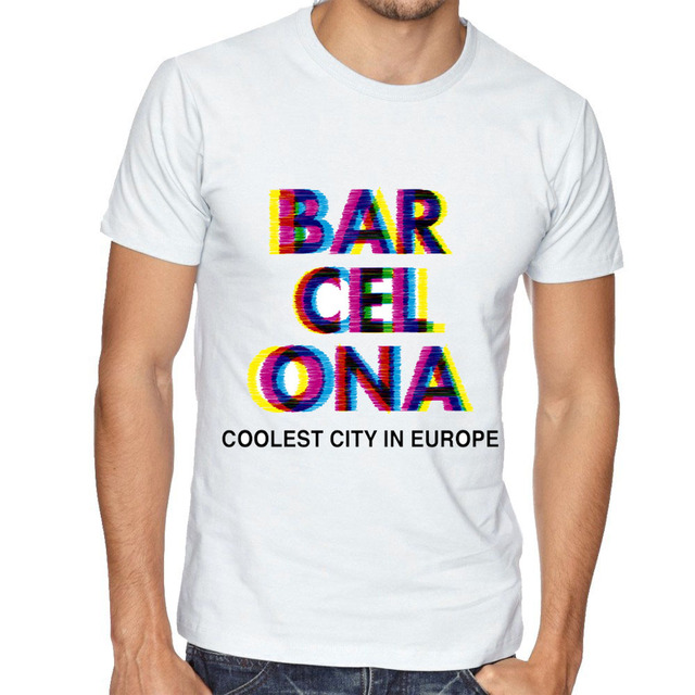 764a04fd34e Barcelona Glitch Psychedelic Coolest City In Europe T-shirt Men Hang Loose  Sign OP Art Popart Harajuku Summer Male Tops