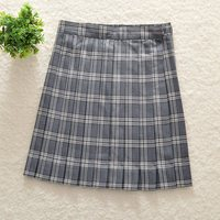 Japanese College High Waist Gray White Grid JK Uniforms Pleated Skirts Spring Summer Skirt Add Pocket