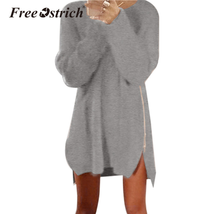 Free Ostrich Winter Knitted Sweater Dress Women Autumn Long Sleeve Casual O Neck Solid Mini Vestidos De Festa Jumper D35