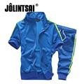 Jolintsai 2017 Плюс Размер 5XL Спортивная Одежда Мужчины Толстовки Шорты 2 ШТ. Костюм Мужчины Moleton мужской Толстовка Пот Наборы