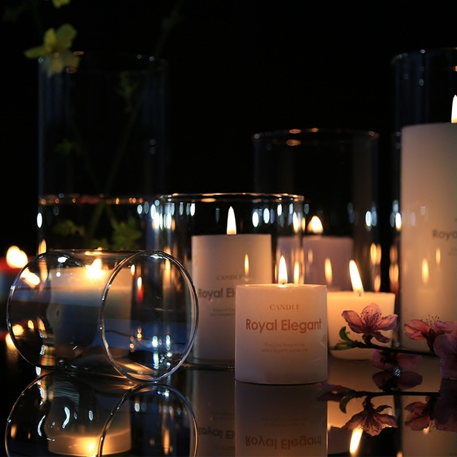 The Nordic Household Menorah Candle Light Dinner Wedding Birthday Cup Decorative Furnishing Articles Glass Candlestick