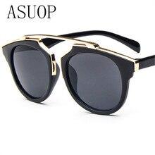 ASUOPnew men's fashion sunglasses high-end luxury watches glasses glasses brand design UV400 sunglasses round large frame retro