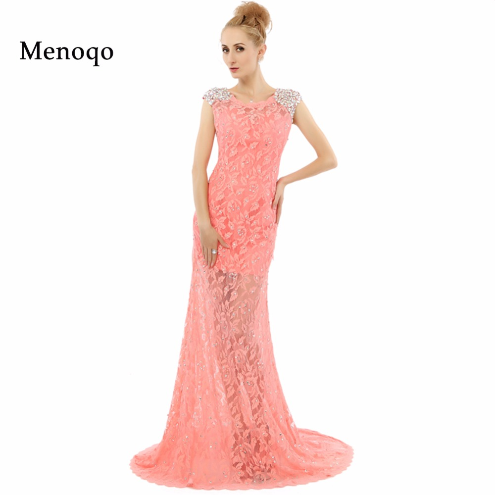 Vestidos de festa Abendkleider Sheath Sleeveless See Through Lace Long Evening Dresses  Real Sample Sexy Formal Prom Dresses