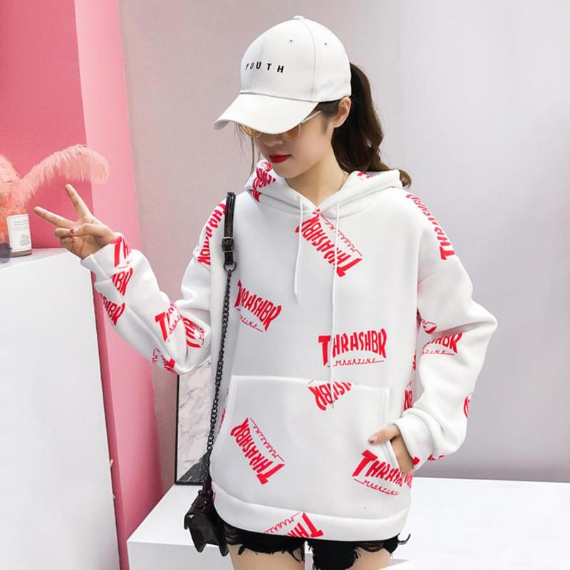 Soft Touching Sweet Loose Letters Print Coat Casual Fashion Drawstring Hoodies College Style Street Women Pullovers Tops