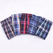 Calcinha boxer masculina, roupa íntima de algodão, xadrez respirável, flexível, boxer 5 pçs/lote, cuecas masculinas 5xl 6xl