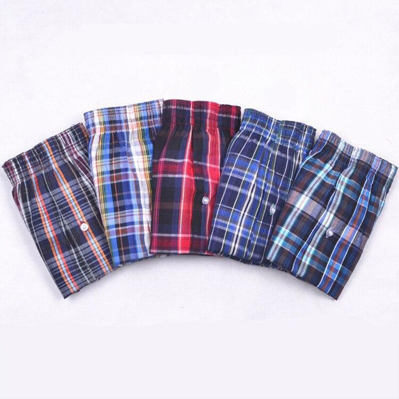 Panties Mens Boxer Men Underwear Cotton Man Shorts Breathable Plaid Flexible Shorts Boxer 5Pcs/lot Male Underpants 5XL 6XL