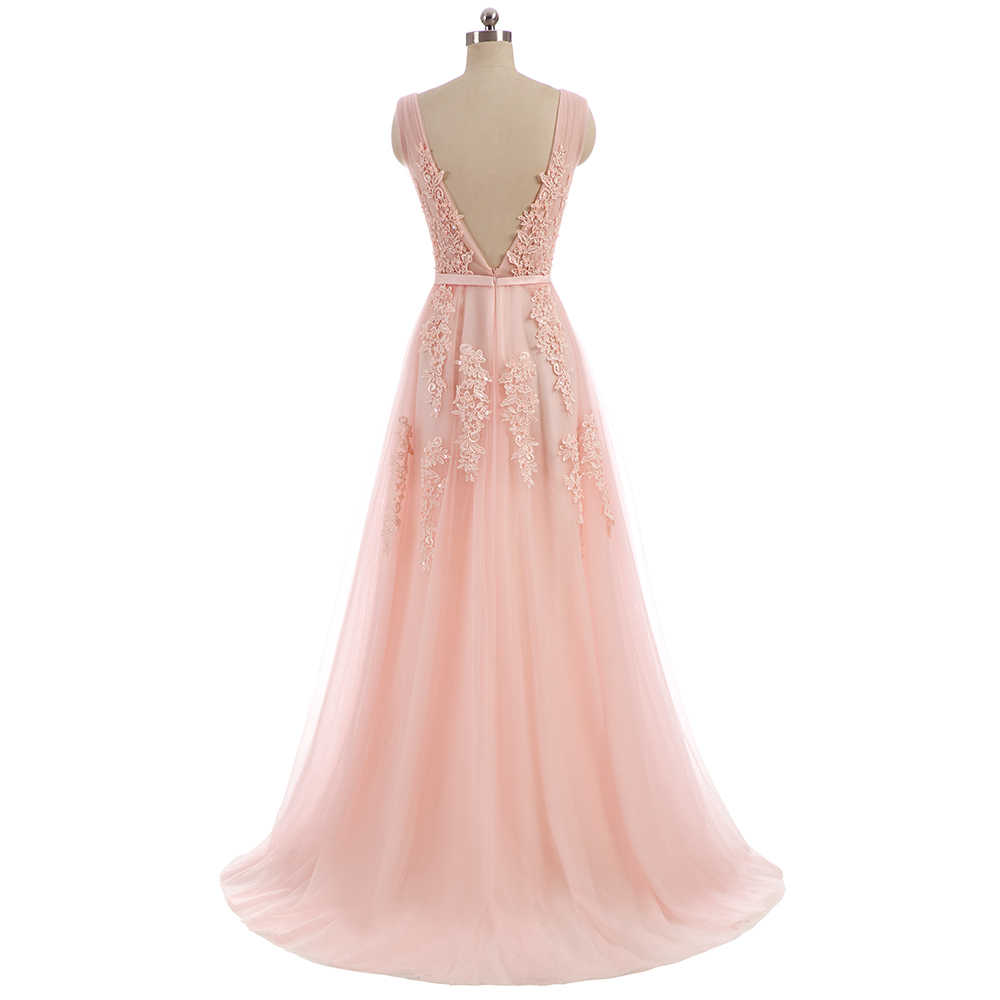 WeiYin Rosa Spitze Kleid Abendkleid Sweep Zug Lange V-ausschnitt Vestido De  Forma Tüll Prom Kleider Sehen Durch Abend Party kleid