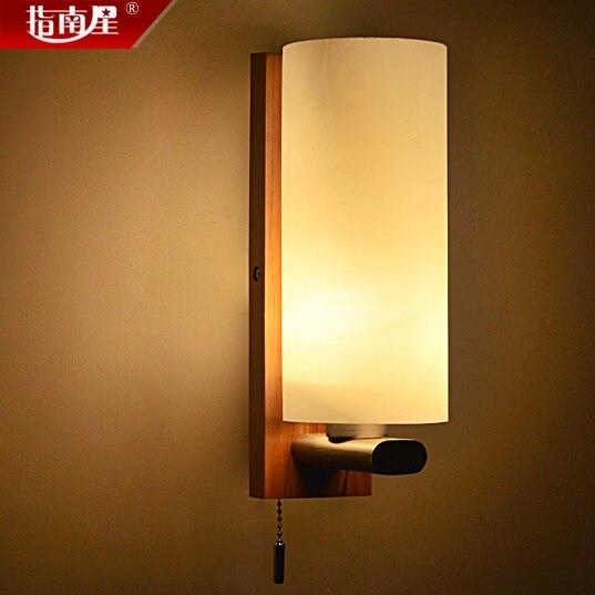 una sola cabeza breves modernos lmpara de pared de madera con el interruptor de lmparas de