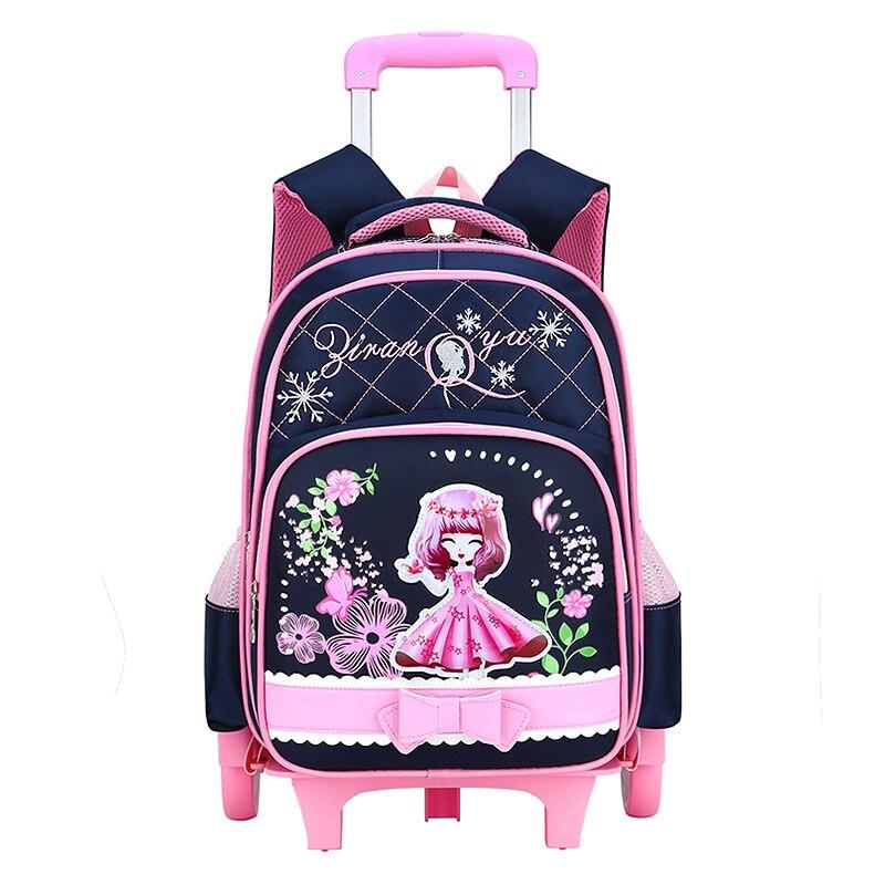 Offres spéciales sacs d'école amovibles pour enfants avec 2/3 roues pour filles sac à dos chariot enfants sac à roulettes sac de voyage