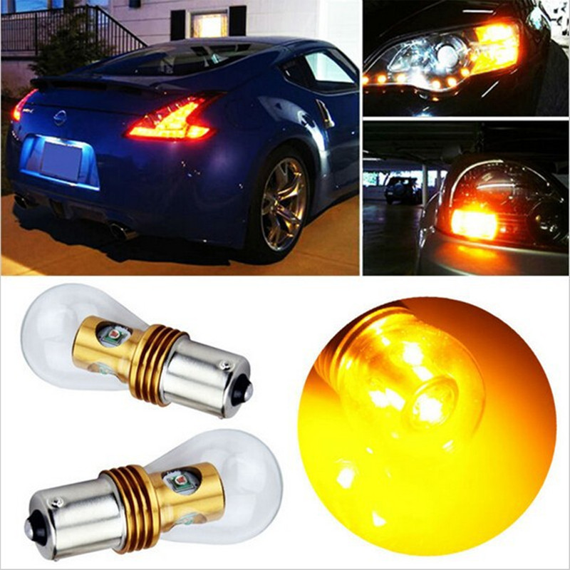 2Pcs Bau15s 150 degree Offset 581 7507 PY21W Cree Chip 20W Turn signal Tail Indicators Bulbs Car Light Amber/Yellow led auto ijdm amber yellow error free bau15s 7507 py21w 1156py xbd led bulbs for front turn signal lights bau15s led 12v