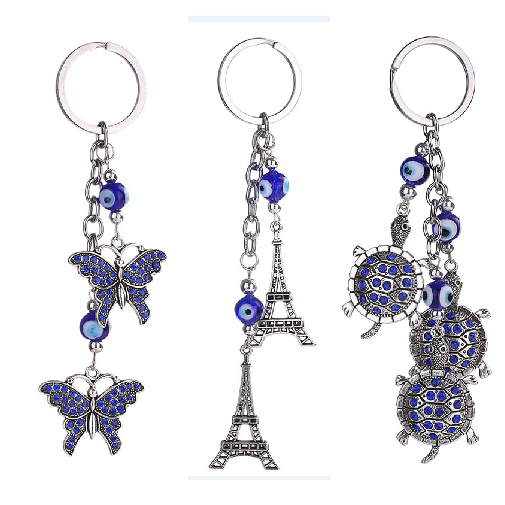 Lucky Butterfly and blue crystal Evil funny Eye Good Luck Keychain Ring Handbag Charm Turtle keyring jewelry