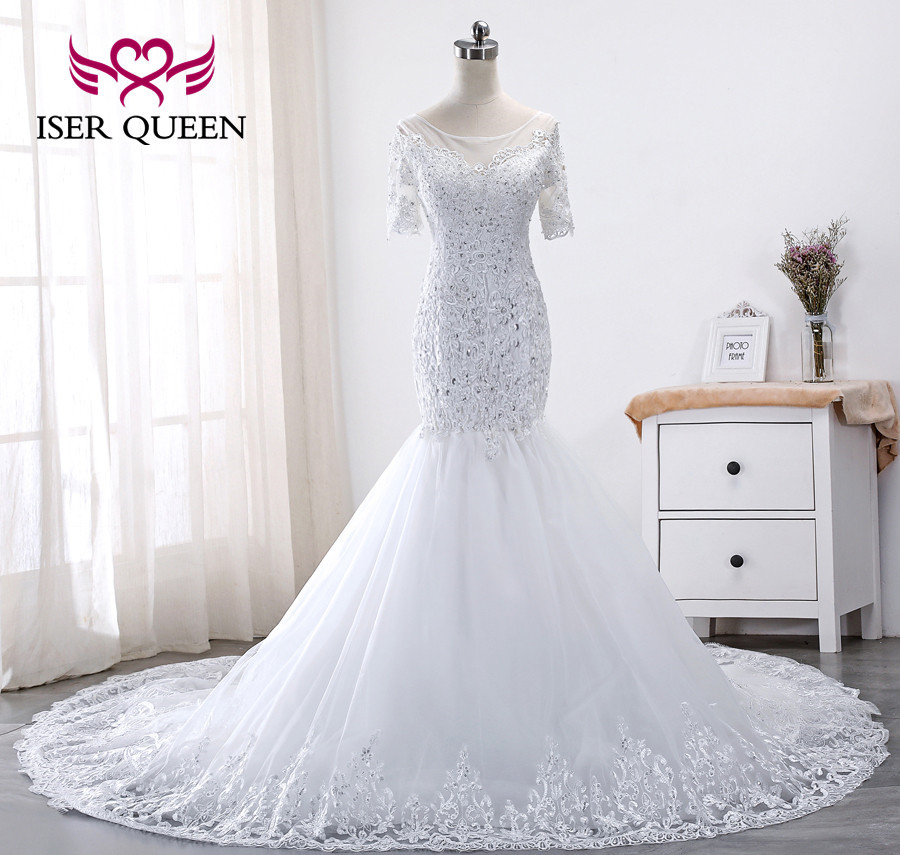 Short Sleeve Bright Sequin Lace Embroidery Mermaid Wedding Dresses 2019 African New Design Plus Size Wedding Dress WX0016