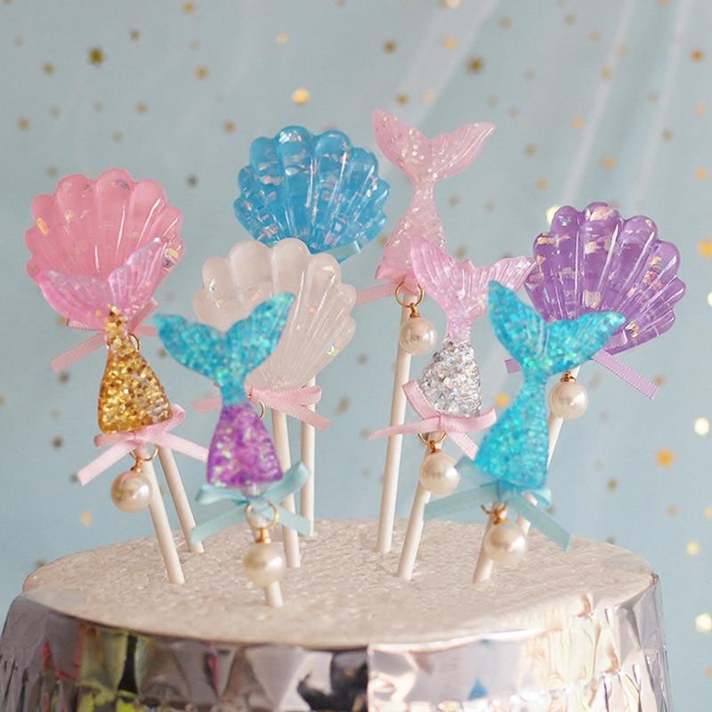 Starfish Mermaid Happy birthday Cake Toppers Cupcake Baby Shower DIY Gifts/_b`US