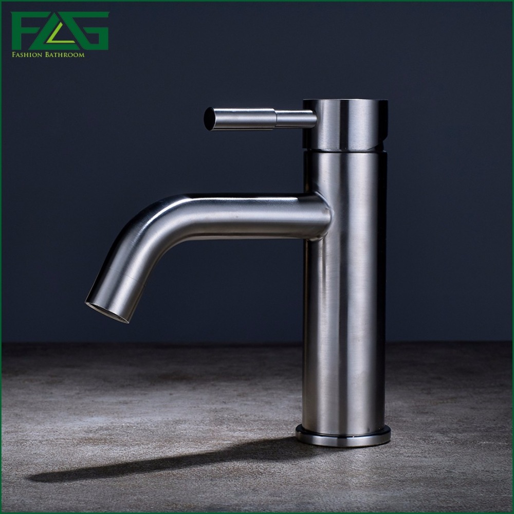 ФОТО FLG Free shipping,Bathroom Faucet 304 Stainless Steel Basin Sink Faucet Single Handle Water Tap,Nickel Brushed Mixer 252-11A