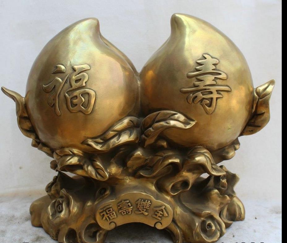 671115318++15 China Brass Feng Shui wealth Fu Shou longevity Two peach sculpture Statue