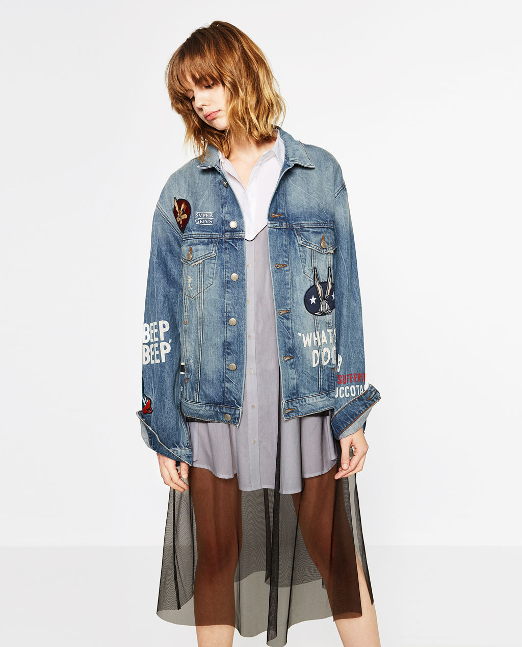 2017 ZA Long Sleeve Embroidery Denim Jacket Jacket Denim ...