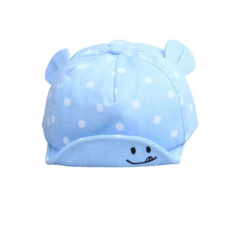 WEIXINBUY Dot Baby Caps New Girl Boys Cap Summer Hats For Boy Infant Sun Hat With Ear 2018 Sunscreen Baby Girl Hat Spring Baby in Hats Caps from Mother Kids