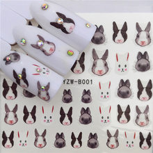 Water Transfer stickers for nail art lion rabbi cat panda fox cute animal Fingernails Decals Manicure Decor Nail Wraps Decals(China)